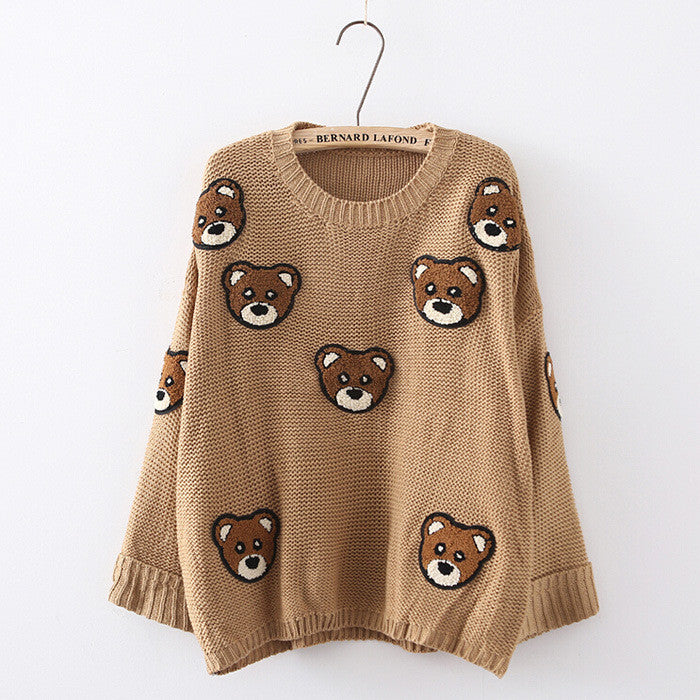 Bear Print Scoop Pullover Loose Knit Sweater - Oh Yours Fashion - 1
