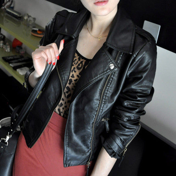 Women Black Zipper Moto Crop Slim Jacket - Oh Yours Fashion - 1