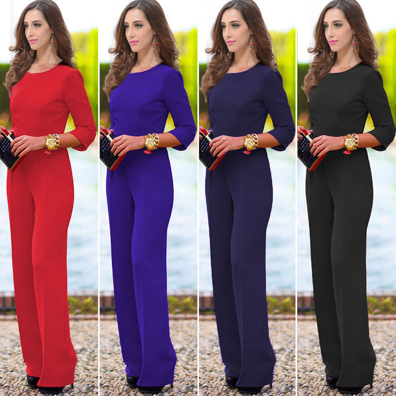 Pure 3/4 Sleeves Scoop Brief Slim Backless Long Jumpsuits