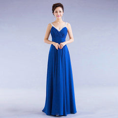 Chiffon Sequins V-neck Sleeveless Long Evening Bridesmaid Dress - Oh Yours Fashion - 5