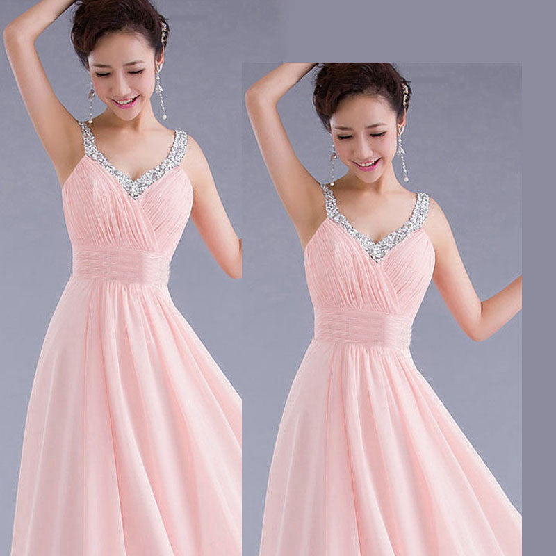 Chiffon Sequins V-neck Sleeveless Long Evening Bridesmaid Dress - Oh Yours Fashion - 2