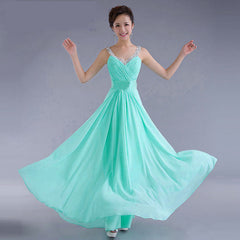 Chiffon Sequins V-neck Sleeveless Long Evening Bridesmaid Dress - Oh Yours Fashion - 4