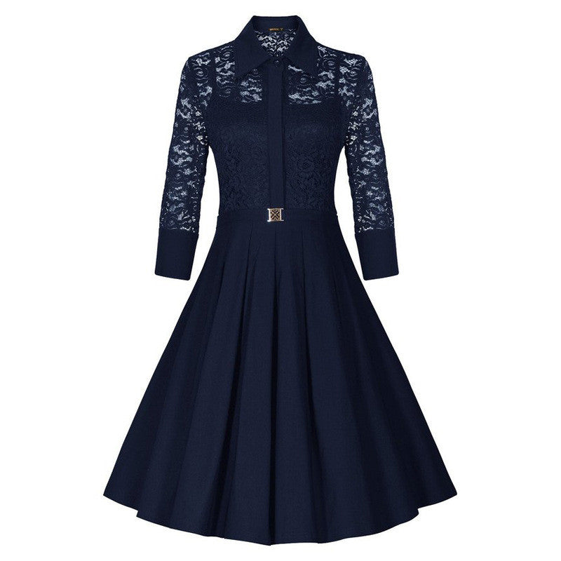 Fashion Lapel Hollow Out 3/4 Sleeve A-Line Knee-Length Dress - Oh Yours Fashion - 5
