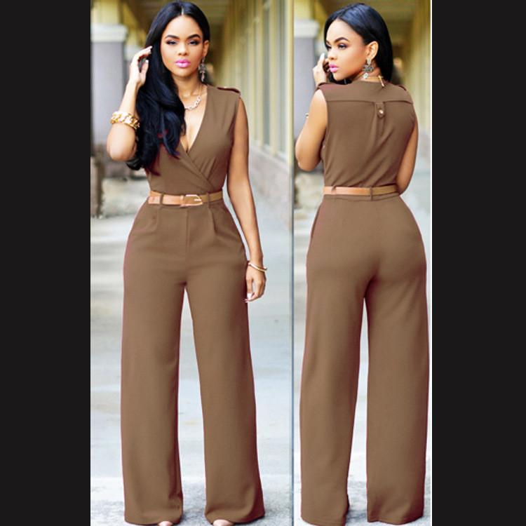 Irregular V-neck Sleeveless Wide Leg Pants Belt Long Jumpsuits - Meet Yours Fashion - 5