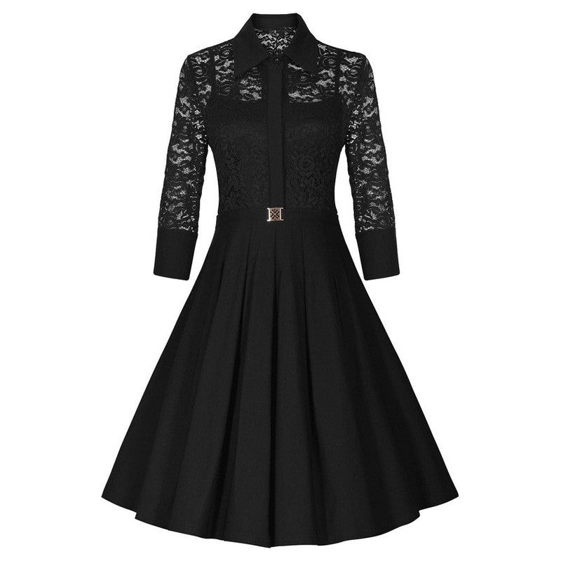 Fashion Lapel Hollow Out 3/4 Sleeve A-Line Knee-Length Dress - Oh Yours Fashion - 6