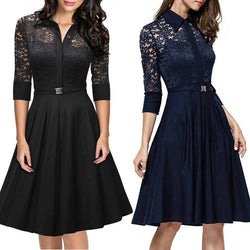 Fashion Lapel Hollow Out 3/4 Sleeve A-Line Knee-Length Dress - Oh Yours Fashion - 1