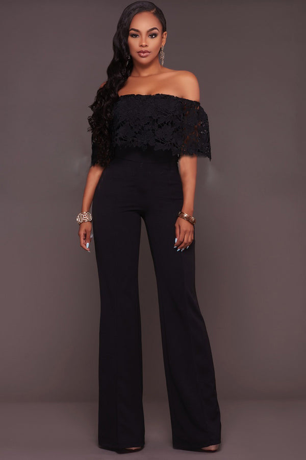 Off Shoulder Ruffles Sleeves Pure Color Long Jumpsuit