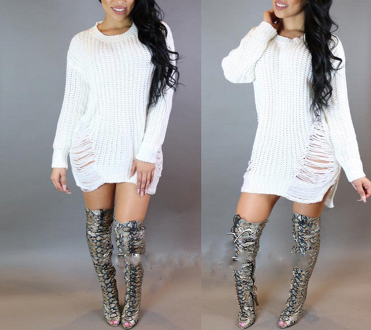 Hollow Out Knitting Irregular Long Sweater Dress - Oh Yours Fashion - 4