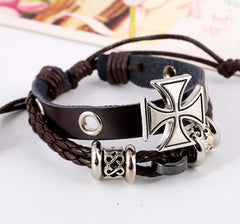 Alloy Beaded Cross Leather Bracelet - Oh Yours Fashion - 4
