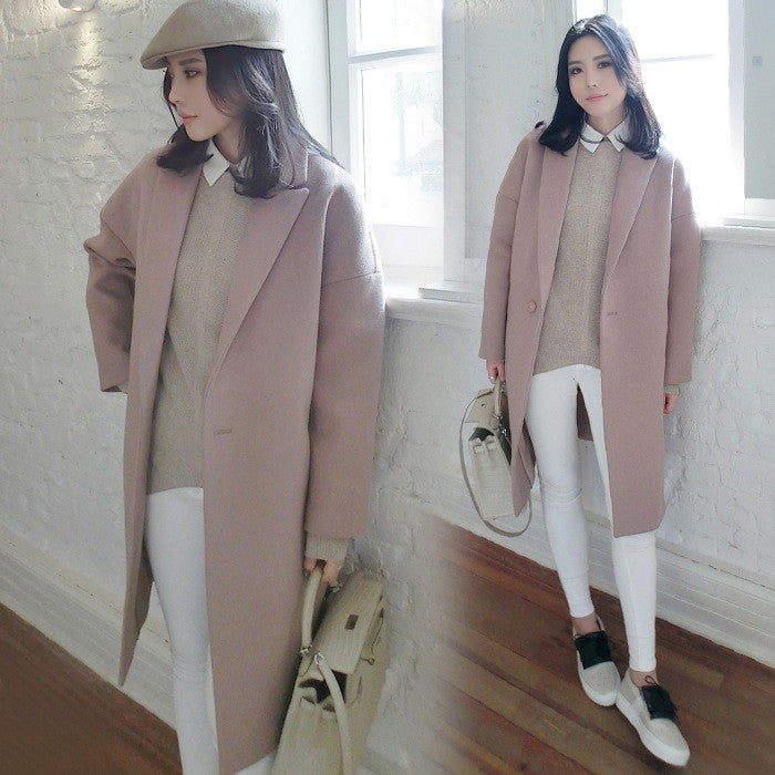 Dropped Shoulder Solid Split Loose Long Coat - Oh Yours Fashion - 4