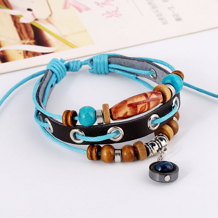Simple Fashion Beaded Leather Bracelet - Oh Yours Fashion - 3