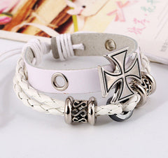 Alloy Beaded Cross Leather Bracelet - Oh Yours Fashion - 3
