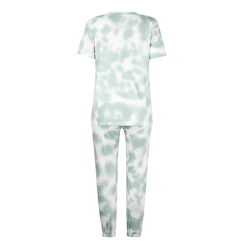 Pajamas Tie Dye Loose High Waist Bandage Short Sleeve Two Pieces Set
