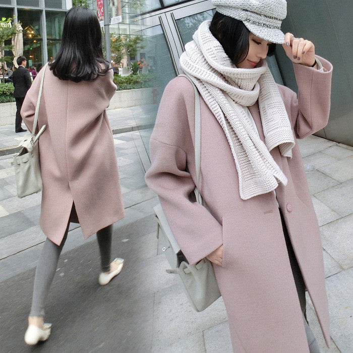 Dropped Shoulder Solid Split Loose Long Coat - Oh Yours Fashion - 1