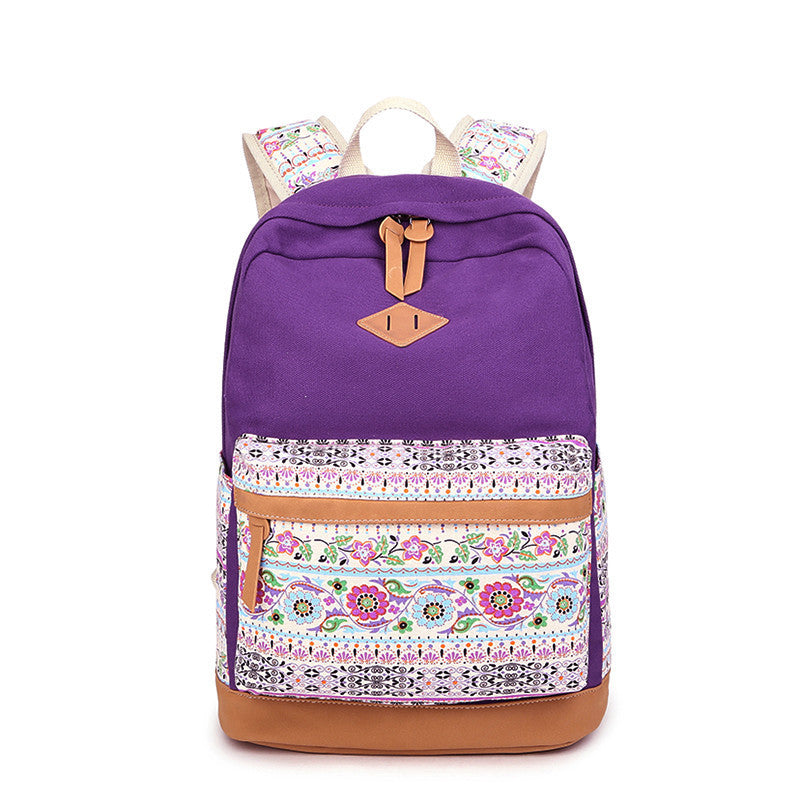 Floral Splicing Casual School Backpack Travel Bag - Oh Yours Fashion - 1