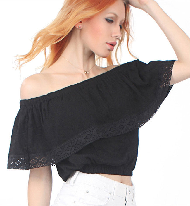 Strapless Pure Color Chiffon Crop Fly-away Top - Oh Yours Fashion - 7