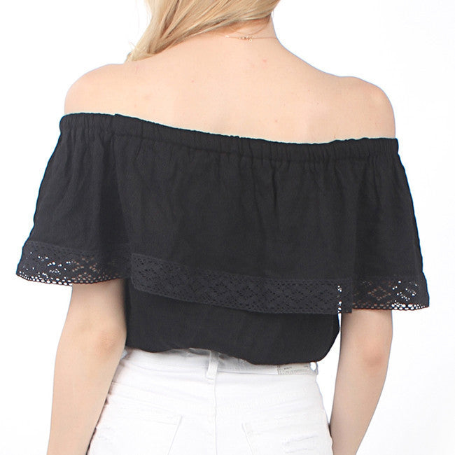 Strapless Pure Color Chiffon Crop Fly-away Top - Oh Yours Fashion - 9