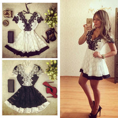 Backless V-neck Lace Patchwork A-line Sexy Short Dress - Oh Yours Fashion - 1