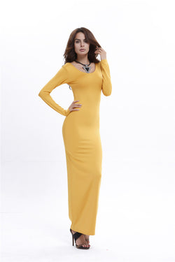 Elegant Pure Color Long Sleeve Scoop Bodycon Long Dress - Oh Yours Fashion - 9