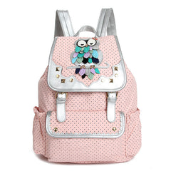 Drawstring Fashion Owls Rivet Canvas Backpack - Oh Yours Fashion - 3