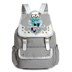 Drawstring Fashion Owls Rivet Canvas Backpack - Oh Yours Fashion - 1