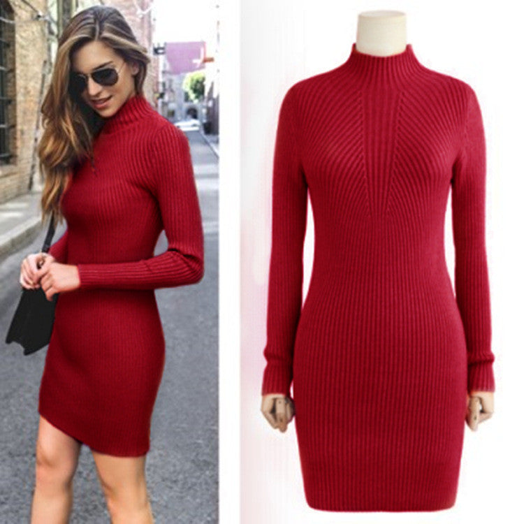 High Neck Bodycon Knitting Sweater Dress - Oh Yours Fashion - 1