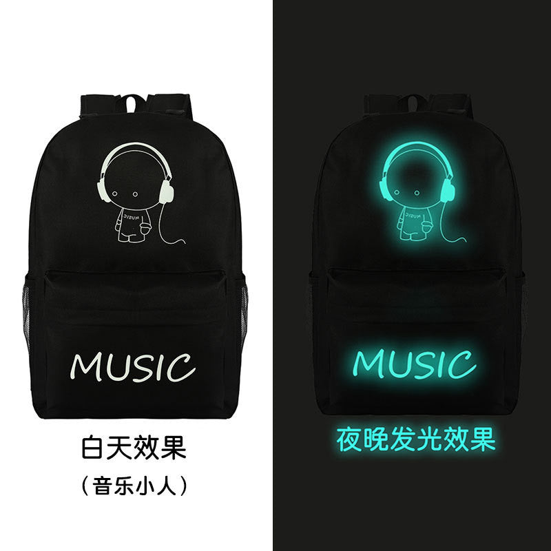 Noctilucent Canvas Chic Backpack Black School Bag - Oh Yours Fashion - 5