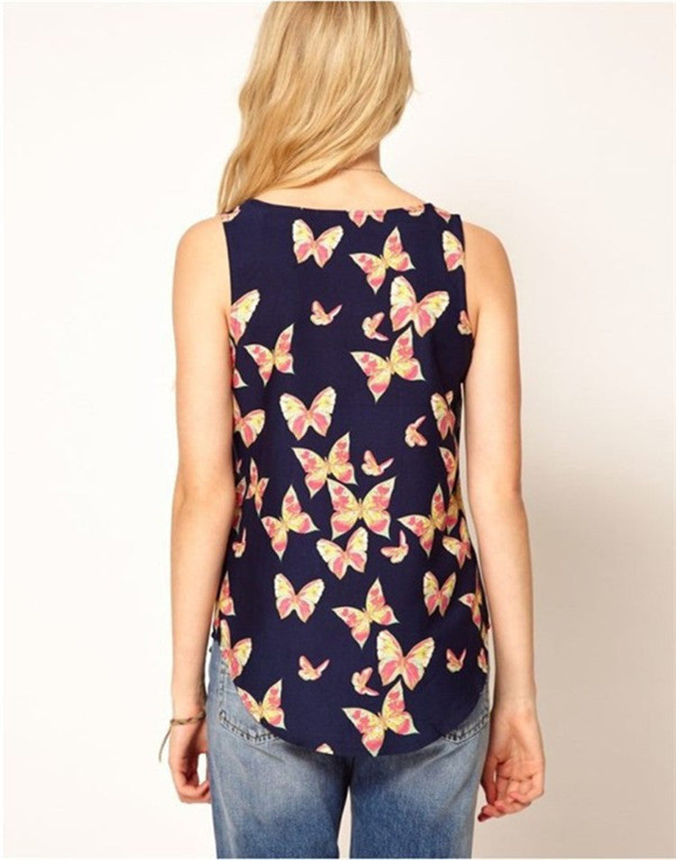 Scoop Sleeveless Flower Print Chiffon Straight Blouse - Oh Yours Fashion - 5