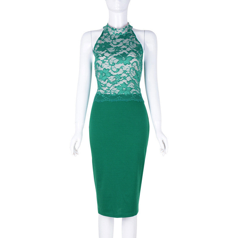 Sexy Sleeveless Lace Patchwork Bodycon Knee-Length Pencil Dress - Oh Yours Fashion - 5