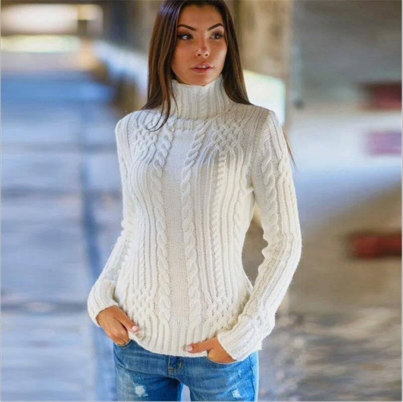 Cable High-neck Solid Slim Pullover Short Sweater - Oh Yours Fashion - 1