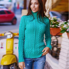 Cable High-neck Solid Slim Pullover Short Sweater - Oh Yours Fashion - 3