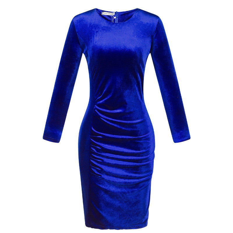 Korea Style Velvet Long Sleeve Drape Short Bodycon Dress - Oh Yours Fashion - 7