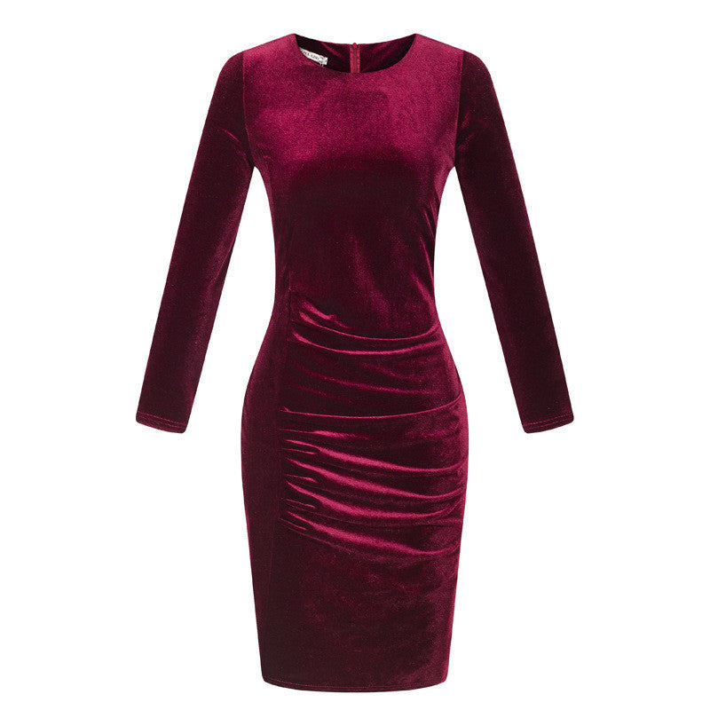 Korea Style Velvet Long Sleeve Drape Short Bodycon Dress - Oh Yours Fashion - 1