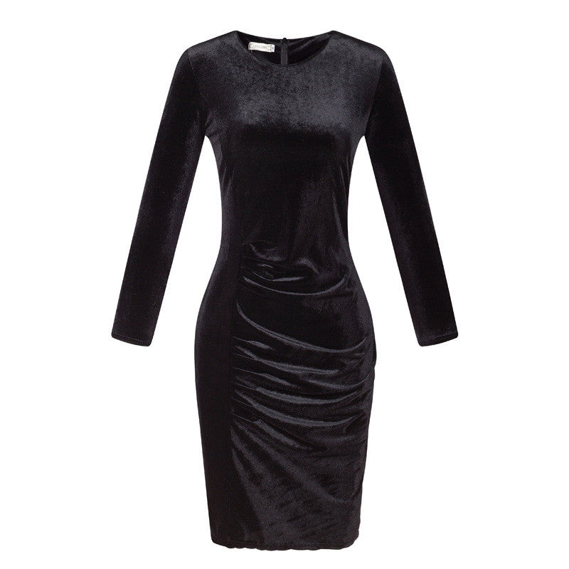 Korea Style Velvet Long Sleeve Drape Short Bodycon Dress - Oh Yours Fashion - 6