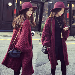 Batwing Cable Dropped Shoulder Long Split Solid Sweater - Oh Yours Fashion - 1