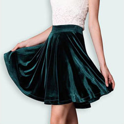 Retro Style Velvet A-Line Flared Short Skirt - Oh Yours Fashion - 3