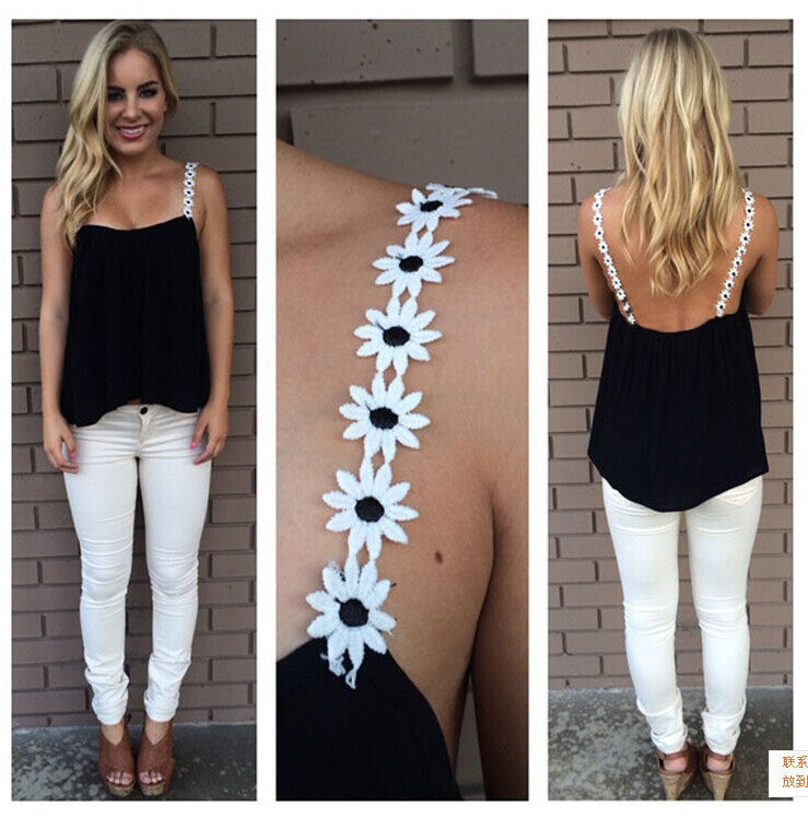 Spaghetti Strap Flower Casual Ruffled Chiffon Vest - Oh Yours Fashion - 1