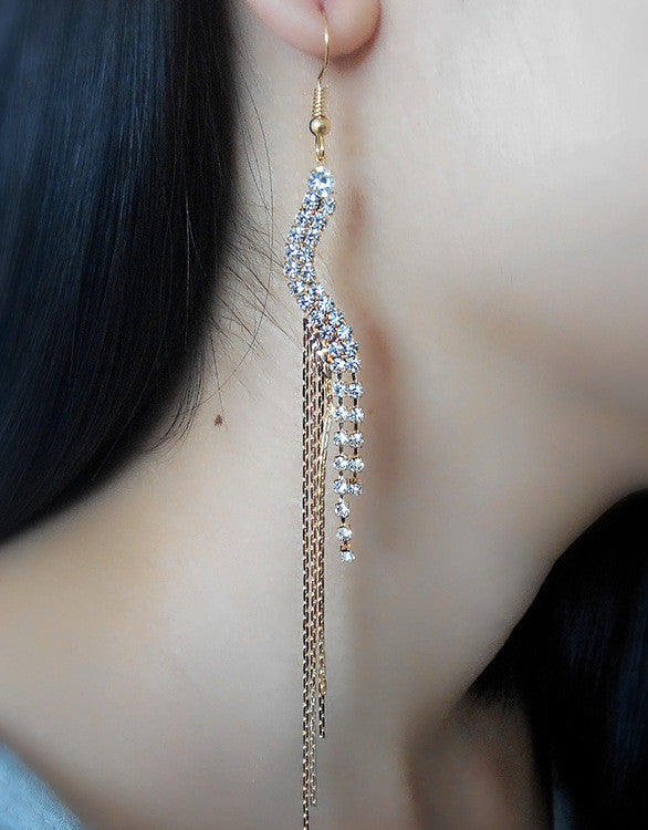 Exaggerated Crystal Tassels Party Earrings - Oh Yours Fashion - 19