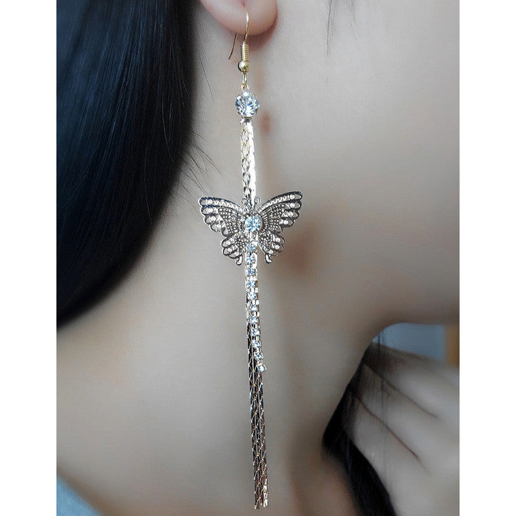 Exaggerated Crystal Tassels Party Earrings - Oh Yours Fashion - 3
