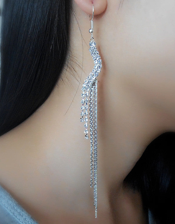 Exaggerated Crystal Tassels Party Earrings - Oh Yours Fashion - 20