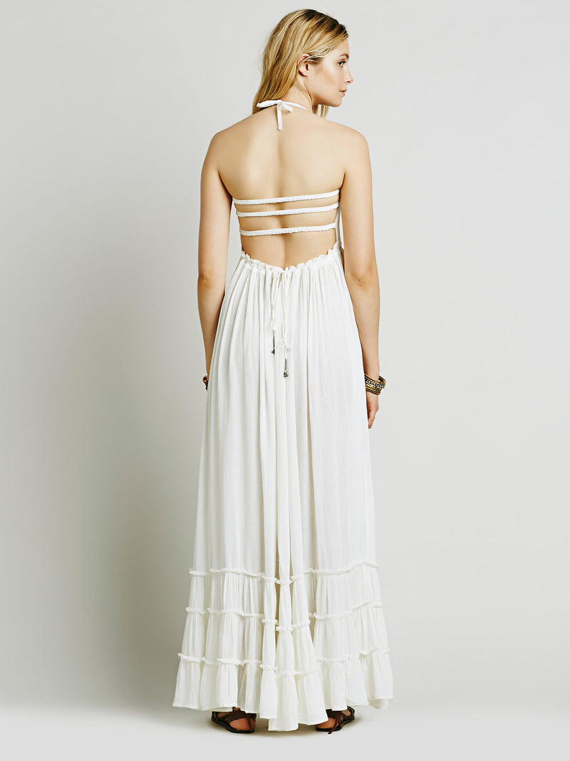 Backless Spaghetti Strap Sleeveless Long Beach Dress - Oh Yours Fashion - 8
