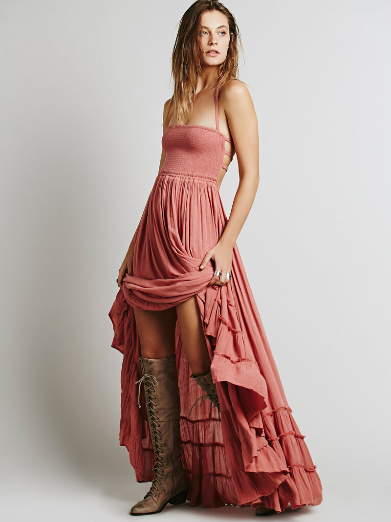 Backless Spaghetti Strap Sleeveless Long Beach Dress - Oh Yours Fashion - 3