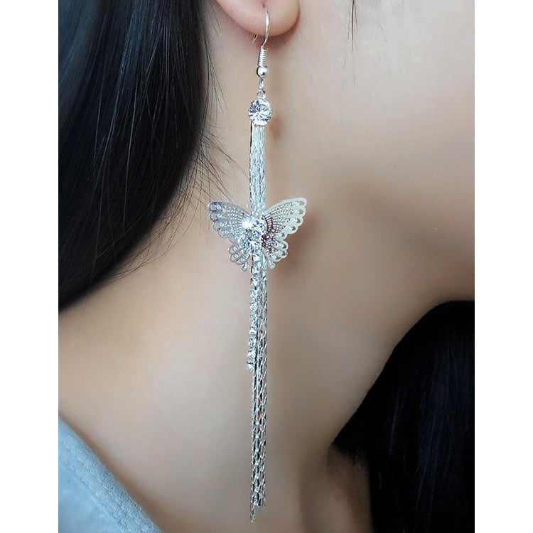 Exaggerated Crystal Tassels Party Earrings - Oh Yours Fashion - 4