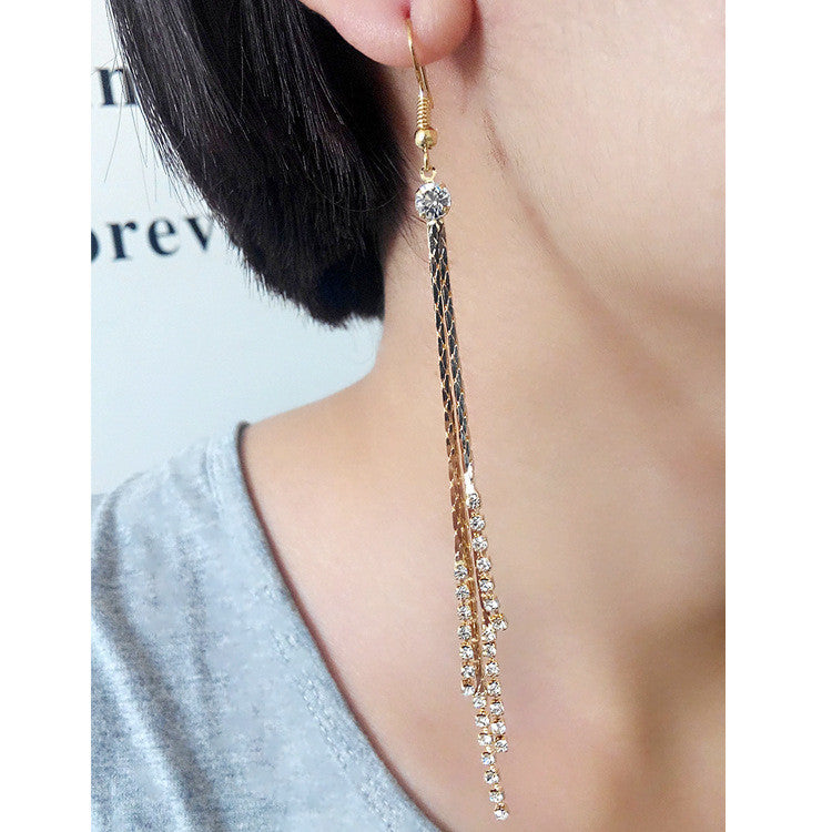 Exaggerated Crystal Tassels Party Earrings - Oh Yours Fashion - 27