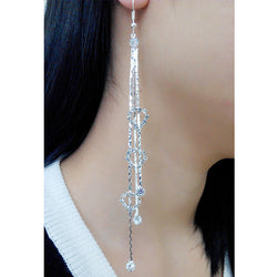 Exaggerated Crystal Tassels Party Earrings - Oh Yours Fashion - 1