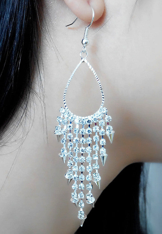 Exaggerated Crystal Tassels Party Earrings - Oh Yours Fashion - 13