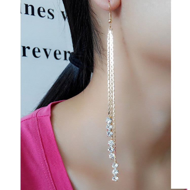 Exaggerated Crystal Tassels Party Earrings - Oh Yours Fashion - 31
