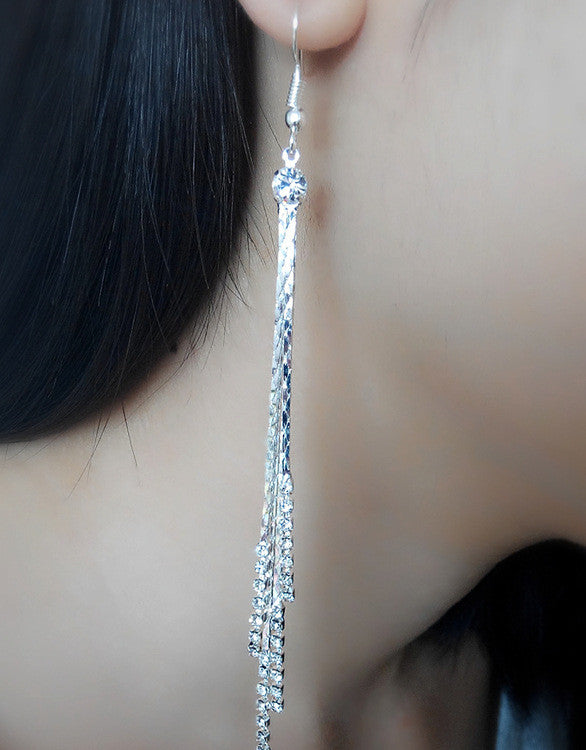 Exaggerated Crystal Tassels Party Earrings - Oh Yours Fashion - 28