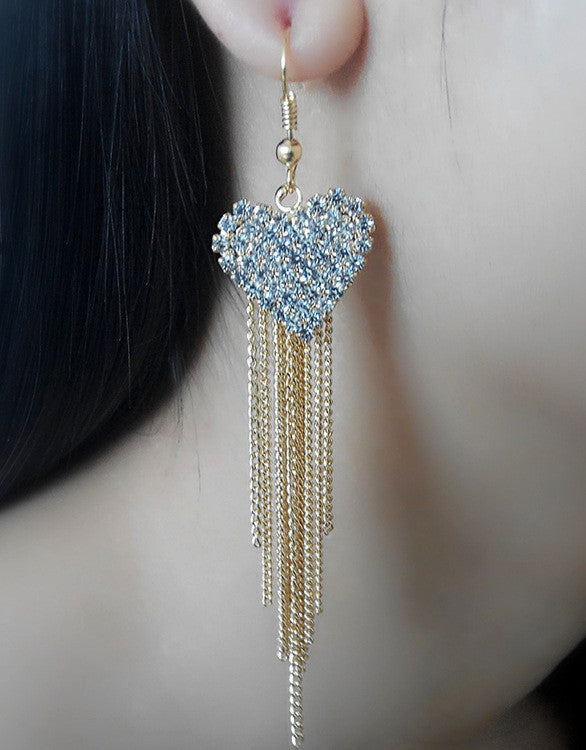 Exaggerated Crystal Tassels Party Earrings - Oh Yours Fashion - 38