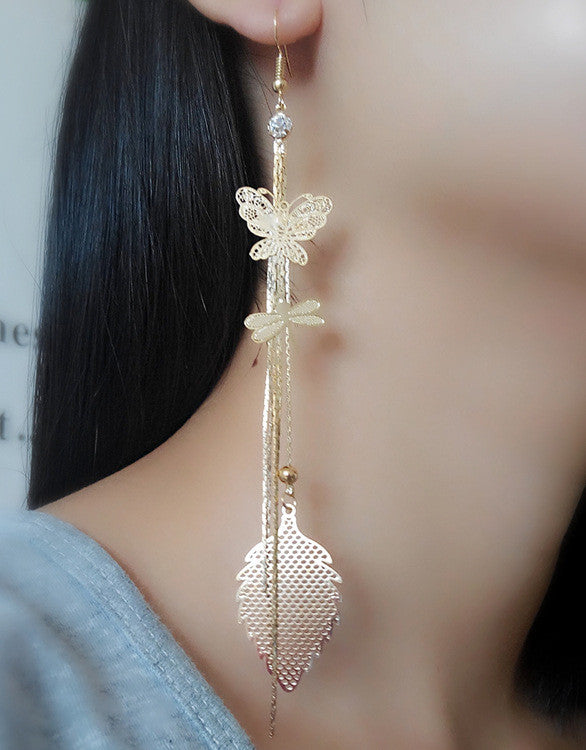 Exaggerated Crystal Tassels Party Earrings - Oh Yours Fashion - 5